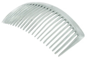 Parcelona French Large Glossy Celluloid Clear Good Grip Updo 23 Teeth Hair Side Combs - 11cm