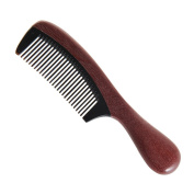 Zhifuxuan Black Buffalo Horn Comb with Violet Wood Handle(rounded),18cm ,handmade Premium Quality