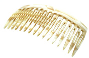 French Amie Handmade Ivory Cream Celluloid Acetate 16 Teeth Side Hair Comb
