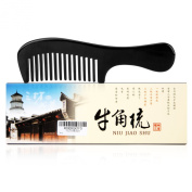 VF-SZ07 No Static Big Size Round Handle Black Buffalo Horn Wide Tooth Comb