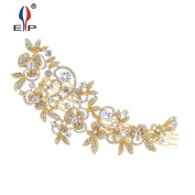 Sparkly Long Flower Hair Comb Rhinestone Hairpins Bridal Wedding Hair Accessories Jewellery Austrian Crystals Hair Clips FA5027