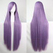 Womens Ladies Girls 100cm Smoke Purple Colour Long Straight Wigs High Quality Hair Carve Cosplay Costume Anime Party Bangs Full Sexy Wigs