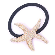 2Pcs Cute Metal Starfish Hair Band Bow Rope Elastic Ponytail Holder Hairband