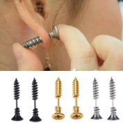 Yueton 3 Pair Men Unisex Stainless Steel Piercing Cross Screws Ear Stud Earrings