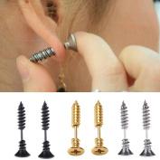 Yueton 3 Pair Men Unisex Stainless Steel Piercing Cross Screws Ear Stud Earrings