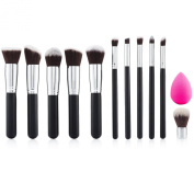 NEW 11 Piece Professional Synthetic Contouring Kabuki Makeup Brush Set for Face, Cheeks, Eyes, Exclusive Travel Friendly Mini Kabuki Brush, BONUS Complexion Beauty Makeup Sponge Blender, Travel Pouch