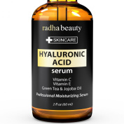 Hyaluronic Acid Serum For Face & Skin - Finest Grade Anti Wrinkle and Anti ageing Serum With Vitamin C, Vitamin E & Green Tea.