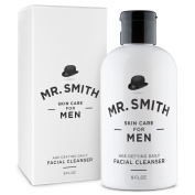 Mr. Smith Daily Facial Cleanser for Men 240ml Anti-ageing Soap Free Face Care Wash and Exfoliator Scrub. All Natural. Suitable for All Mens Skin Types