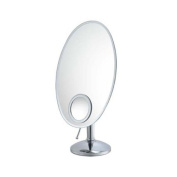 Aptations 80170 Oval 10X Inset Vanity Mirror with Brushed Nickel Frame, 38cm by 27cm by Aptations