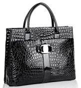 JOVANAS FASHION High Gloss Crocodile Print Office Tote Briefcase