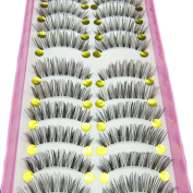 10 Pairs Long Cross False Eyelashes Natural Fake Thick Black Eye Lashes