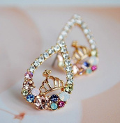 Buyinhouse Golden Heart Shaped Ear Stud with a Cute Crown and Shining Rhinestones For Women Ladies Girls OL,Left & Right Ear