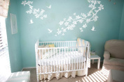 Nursery Wall Decal White Tree Branch Birds Baby Kids Room Decor Wall Art Sticker Living room Bedroom Large Mural Removable Vinyl Stickers