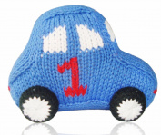 Estella Baby Rattle Toy in Shape of a Car, Hand-Knit Soft Infant Toy, Blue