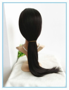 100% INDIAN REMY unprocessed HUMAN HAIR 60cm NATURAL STRAIGHT colour #1b HUMAN HAIR GLUELESS FULL LACE SILK TOP WIG . medium cap size)