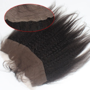 Brazilian Virgin Hair Free Part Lace Frontal Closure Kinky Straight 33cm x 10cm Unprocessed Remy Human Hair Extensions Front Closures With Baby Hair Bleached Knots 20cm Natural Colour