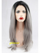 Riglamour Ombre Silver Synthetic Lace Front Wig Heat Resistant Fibre Hair Long Natural Straight Grey Wigs Black Roots for Women 2 Tones