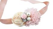 Fairy Factory Peach and Cream Handmade Satin and Lace Flower Headband with Pearl and Crystal Rhinestone Centre - Peach & Cream