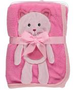 "Sweet & Soft ""Kitty Kat"" Plush Blanket - pink, one size"