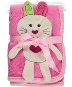 "Sweet & Soft ""Bunny Heart"" Plush Blanket - pink, one size"