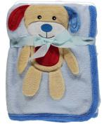 "Sweet & Soft ""Puppy Love"" Plush Blanket - blue, one size"