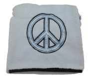 Little Beginnings Peace Sign Baby Blanket Blue