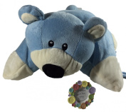 Cuddly Blue Pillow Bear Pet, Button Picture Frame - Baby, Birthday, Easter Gift