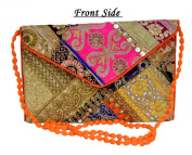 Eco-friendly Zari and Thread Embroidered Patchwork Bag . Clutch Purse