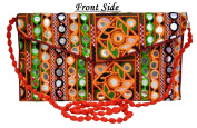 Ethnic Bags Purses Women Vintage Embroidered Mirror Work Clutch Bags
