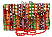 Ethnic Bags Purses Women Vintage Thread Embroidered Mirror Work Clutch Bags