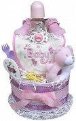 Baby Girl Nappy Cake Two Tiered for Baby Shower Gift