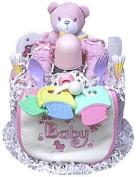 Baby Girl Bear Nappy Cake for Baby Shower Gift