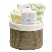 Knit Baby Nursery Closet Organiser Bin for Towels, Nappies, Clothing, Wipes - Medium, Khaki/Ivory