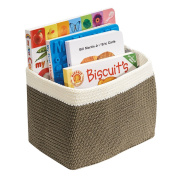 Knit Baby Nursery Closet Organiser Bin for Toys, Books, Towels, Nappies - Small, Khaki/Ivory
