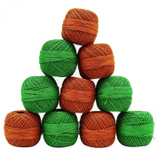 Cotton Crochet Brown Green Knitting Set Of 10 Pcs Spun Skein Thread Yarn Ball