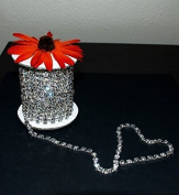 9.1m/10 Yards SS28 6mm Rhinestone Chain Crystal Silver Plated Wedding Cake Bouquet Flower Jewellery or Costume Design RC023