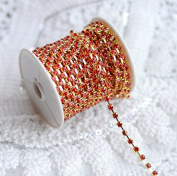 9.1m/ 10 Yards Ruby Red Australia Rhinestone Chain Crystal Gold SS12 3.2mm Wedding Cake Brooch Bouquet Jewellery Design RC072