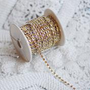 9.1m/ 10 Yards Topaz Yellow Australia Rhinestone Chain Crystal Silver SS8 2.5mm Wedding Cake Brooch Bouquet Jewellery Design RC094