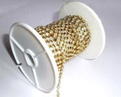 9.1m/10 Yards SS28 6mm Rhinestone Chain Crystal Gold Plated Metal Wedding Cake Bouquet Flower Jewellery or Costume Design RC022