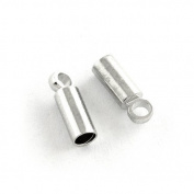 30 x Antique Silver Plated Brass 6.5 x 12mm Kumihimo Barrel End Caps - (HA12145) - Charming Beads