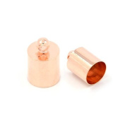 Packet of 30 x Mixed Plated Brass 6 x 10mm Kumihimo Barrel End Caps - (HA12200) - Charming Beads