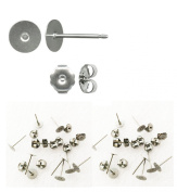 Titanium earring supplies,200 pcs.100 posts w/6mm pad, plus 100 stainless backs,hypoallergenic jewellery