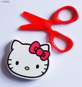 708KT Kids Safe Hello Kitty Plastic Scissors 9cm with Fancy Cover - Pack of 2