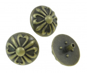10Sets Antique Brass Round Flower Rivet Leather Conchos RV090