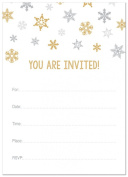 24 Cnt Gold Snowflakes Fill-in Holiday Invitations