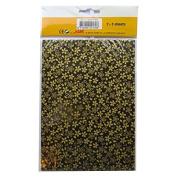 Handmade Decorative Korean Han-Ji Mulberry Paper - 2 Designs - Gold Petal & Glitter Hexagon - 3 Sheets of Each - Size 8.3 x 5.9