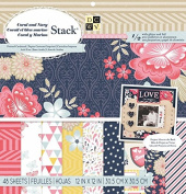 DCWV Die Cut With A View Coral and Navy Stack Paper Pad Printed Cardstock 1/2 Glitter & Foil