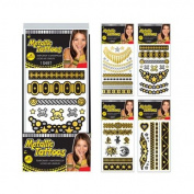 Metallic Tattoos - Assorted Sheets - Waterproof - Temporary - 1 sheet