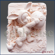 Kid Dresses up in Bunny Costume Holding Decorated Egg - Detail of High Relief Sculpture - Silicone Soap/polymer/clay/cold Porcelain Mould