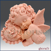 Valentine Angel Boy Set2 - Detail of High Relief Sculpture - Silicone Soap/polymer/clay/cold Porcelain Mould